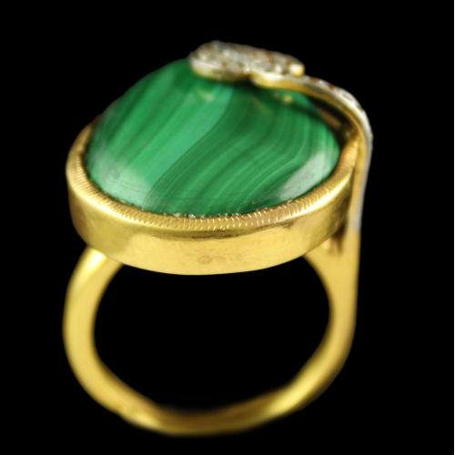 Silver Plated Semiprecious Malachite Champain Stone Ring