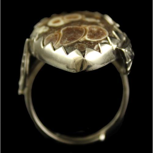 Silver Plated Semiprecious Turtella  Stone Ring