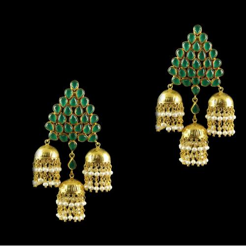 Silver Gold Plated Earrings Red Pear 4mm Green Round 4mm Pearl 2.5mm