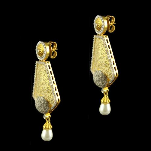 Silver Gold Plated Fancy Design Earrings Drops Studded Zircon Stones