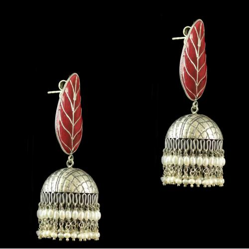 Silver Gold Plated Fancy Design Earrings Pearl 2.5mm Rice Pearl Small