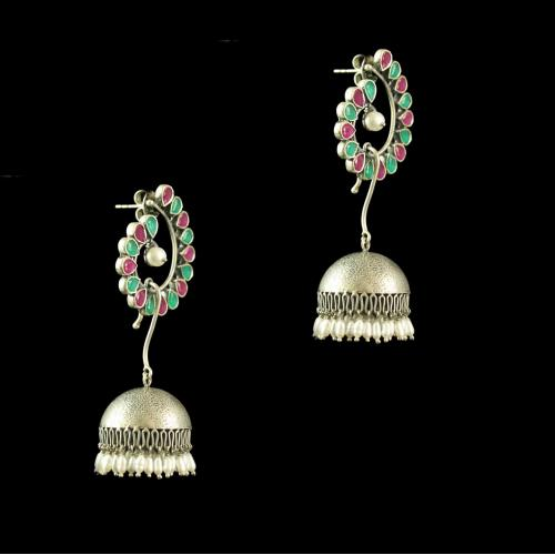 Silver Plated Fancy Design Earrings Pred Pear Green Pear Pearl 4.5 Rice Pearl Small