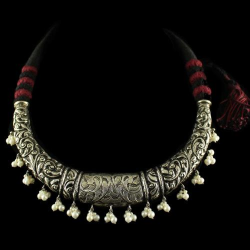 Silver Oxisided Antique Design Necklace