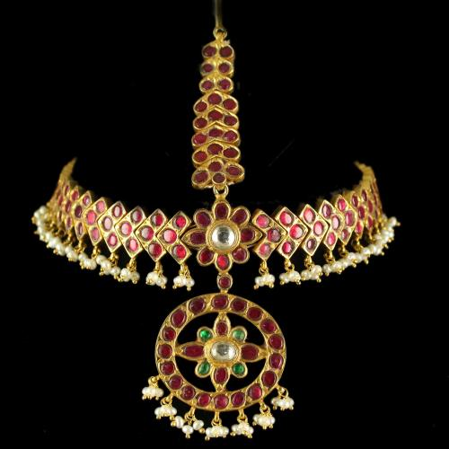 Silver Gold Plated Bharatham Tikka Studded Red Onyx And Pearl
