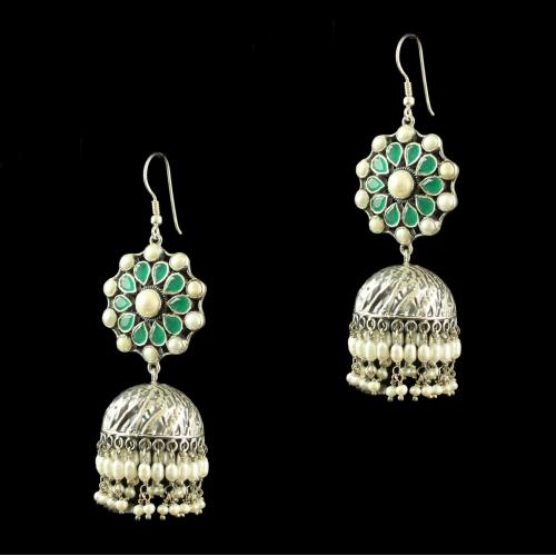 Silver Plated Fancy Design Earrings With Green  Pear Stone 4mm Pearl Cab 4mm Rice Pearl Big Pearl Round 2.5 Pearl Cab 6mm