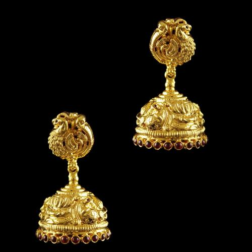 Silver Gold Plated God Design Earring Jhumka Red Onyx Stones