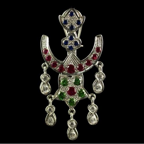 Silver Oxisided Antique Design Chandbali Earrings Studded Muli Stones