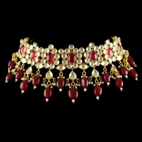 Silver Gold  Plated Fancy Design Necklace Studded Polki And Red Beads