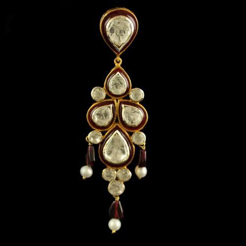 Silver Plated Fancy Design Tikka With Polki Stones