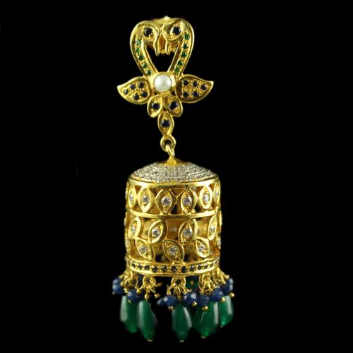 Silver Gold Plated Jumkas Earring White Cz Blue Cz Green 4mm Blue Bead Green Pear Bead