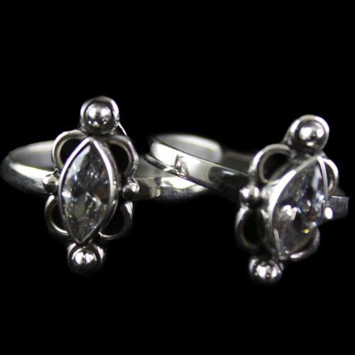 Silver Plated Fancy Design Blue Onyx Toe Rings