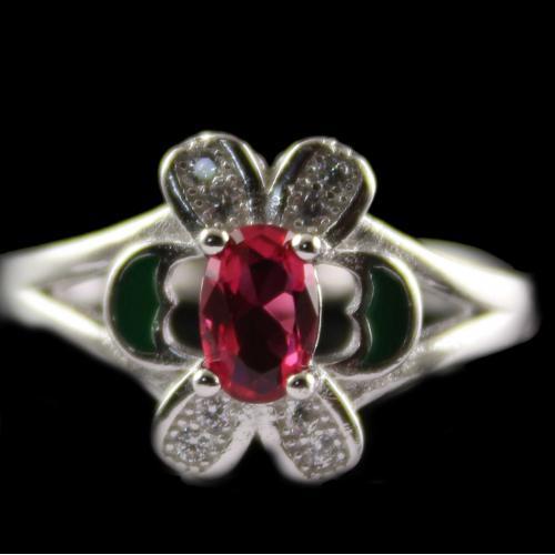 R13214 Sterling Silver Fancy Ring Studded Zircon Stones