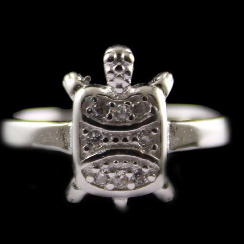 Silver Fancy Design Ring Studded Zircon Stones