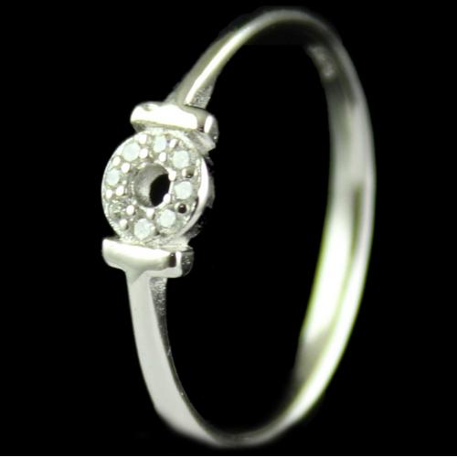 R13237 Sterling Silver Fancy Ring Studded Zircon Stones