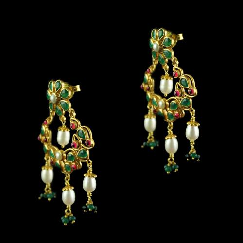 Silver Drops Design Green Onyx Red Onyx Pearl Chandbali Earrings