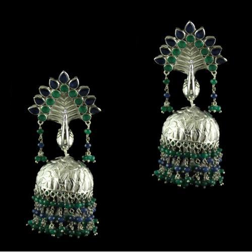 Silver Green Onyx Blue Onyx With Pearl Peacock Design Jhumki Earrings
