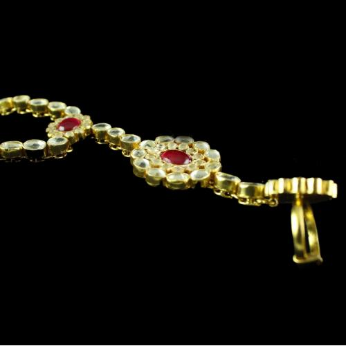 Silver Gold Plated  Studded With Kuddan Stone HathPhool