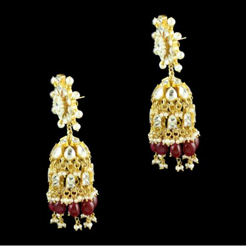 Silver Gold Plated Floral Design Earring Drops Studded Kundhan Stones And Red Onyx With Pearls