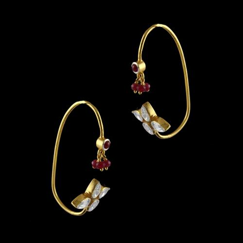 Gold Plated Cuff Earrings Studded Polki And Onex Beads