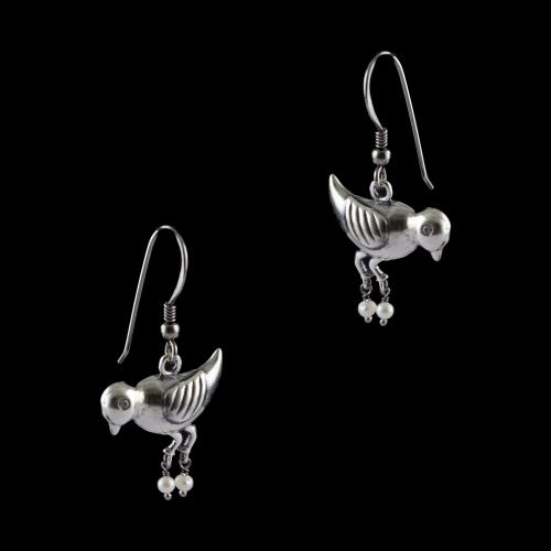Silver Bird With Pearl Beads Design Earrings