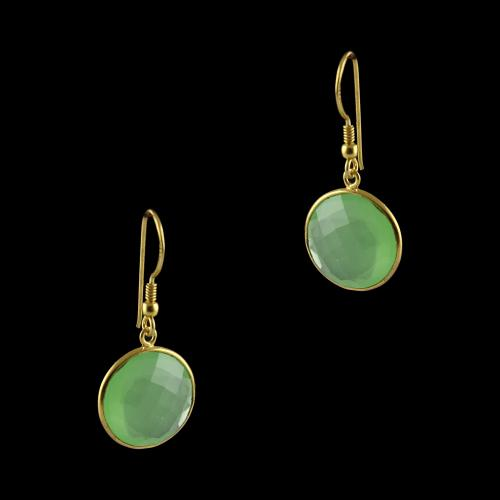 Silver Fancy Design Hanging Earrings Studded Green Onyx