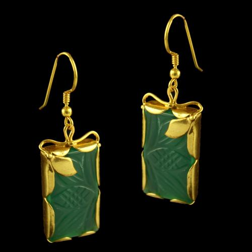 Silver Gold Plated Fancy Design Haning Earrings Studded Green Onys