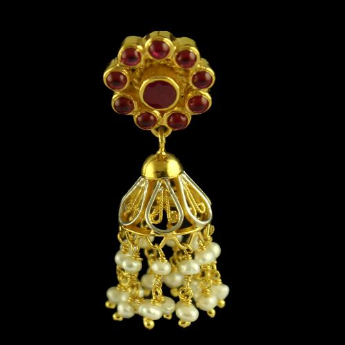 Silver Gold Plated Fancy Design Earring Jhumka Studded Red Oynx And Pearl Beats