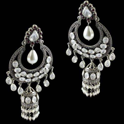 Silver Oxsided  Fancy Design Hanging Earring Jhumka Studded Polki Stones With Pearls