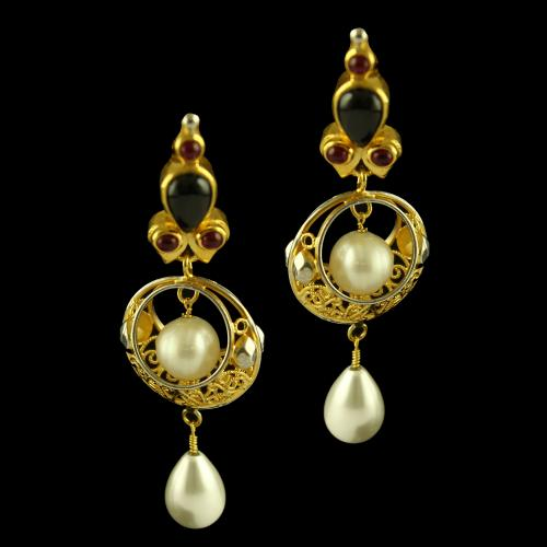 Silver Gold Plated Fancy Design Earring Studded Red Onyx,Black Onyx And Pearl