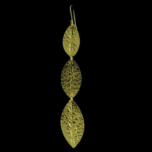 Silver Gold Plated Leaf Design Hanging Earring