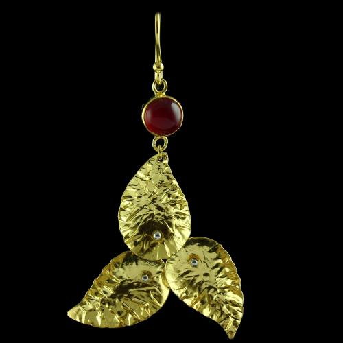 Silver Gold Plated Leaf Design Hanging Earring Red Onyx Stones