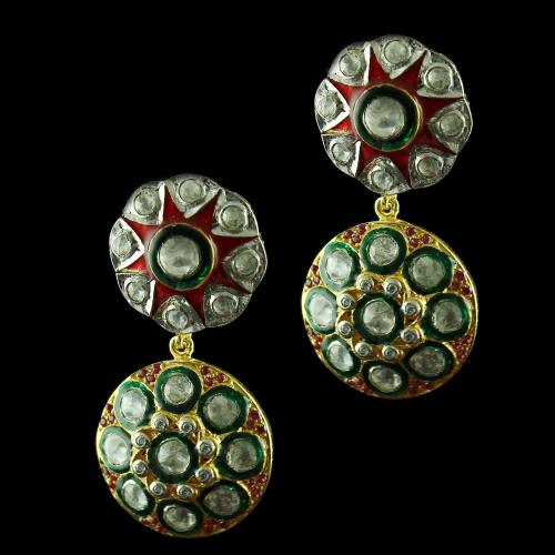 Silver Gold Plated Earring Drops With Polki Stones