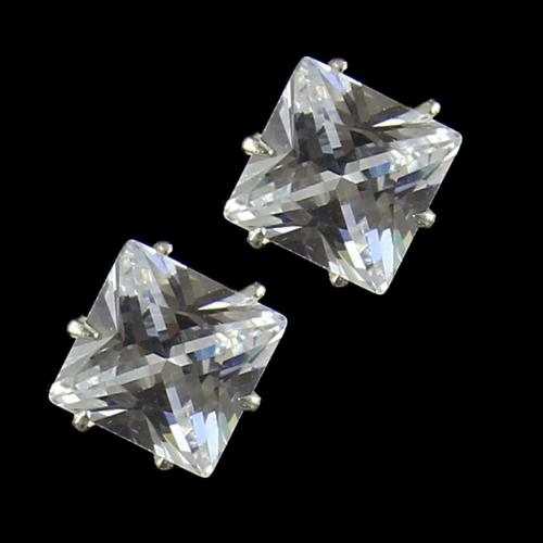 White Zircon Stone Stud Earring For Woman