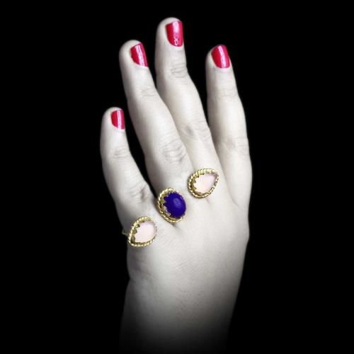 Gold Plated Ring Studded Onyx Stones