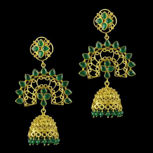 Gold Plated jhumka Studded Green Onyx Stones