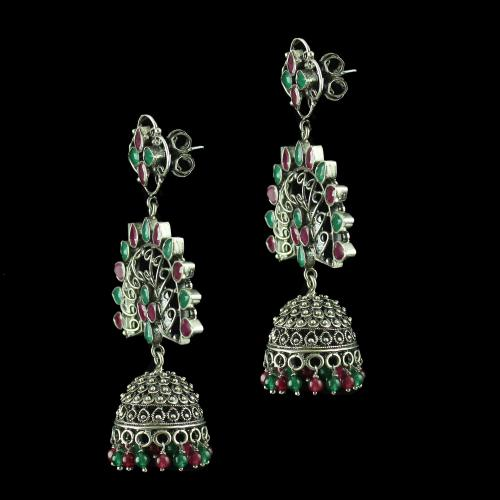 oxidized jhumka Studded Red Green Onyx Stones