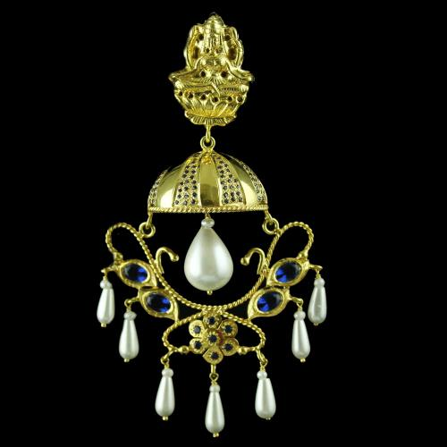 Gold Plated Lakshmi Jhumka With Zircon Stone And Pearl
