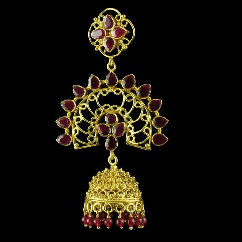 Gold Plated God Design Earring Jhumka Studded Red green Onyx And Pearls