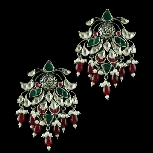Oxidize kundan Drops Earring With Onyx And Pearl