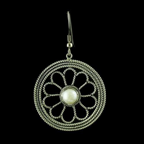 oxidised Hanging Earrings Studded Pearls