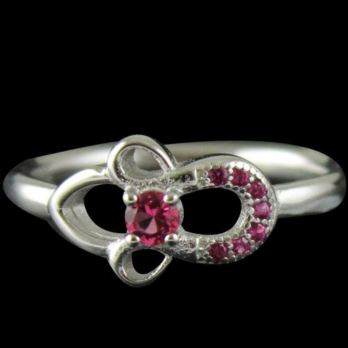 R6416 Sterling Silver Ring Studded Zircon Stones