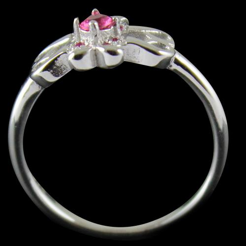 R6903 Sterling Silver Ring Studded Zircon Stone