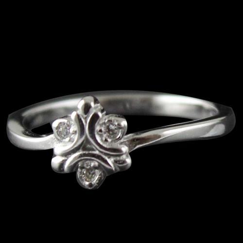 R14723 Sterling Silver Heart Shape Ring Studded Zircon Stones