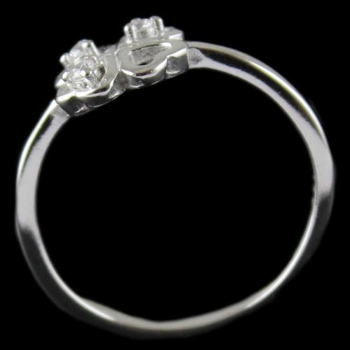 R13289 Sterling Silver Fancy Ring Studded Zircon Stones