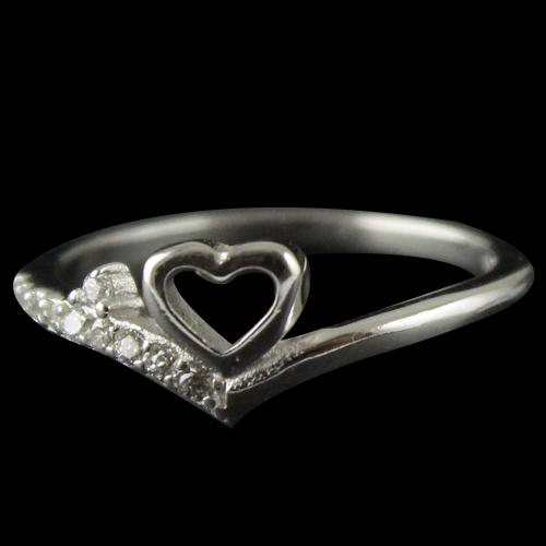 R13286 Sterling Silver Fancy Ring Studded Zircon Stones