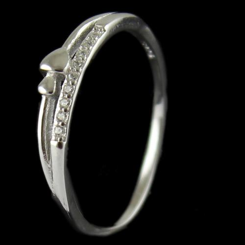 R13285 Sterling Silver Fancy Ring Studded Zircon Stones