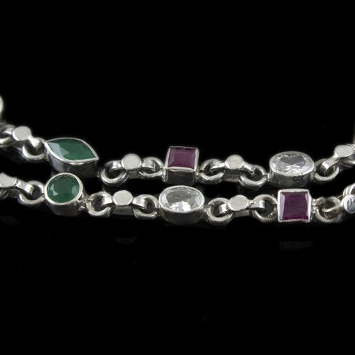 Silver Fancy Anklets With White Zircon Stones