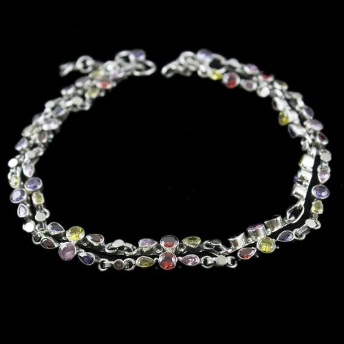 Silver Fancy Design Anklets Studded Multi stones