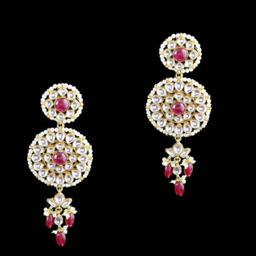 Silver Fancy Design Earring Drops Studded Kundan And Red Onyx And Pearl
