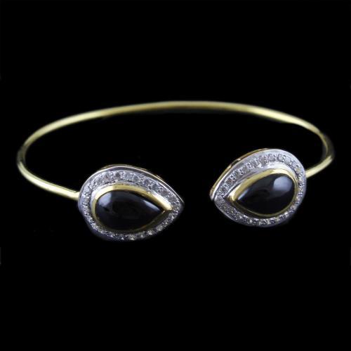 Gold Plated Cuff Bangle Black Onyx Stone